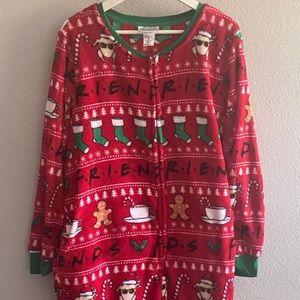 NWOT FRIENDS Fleece Zip-Front Christmas Onesie